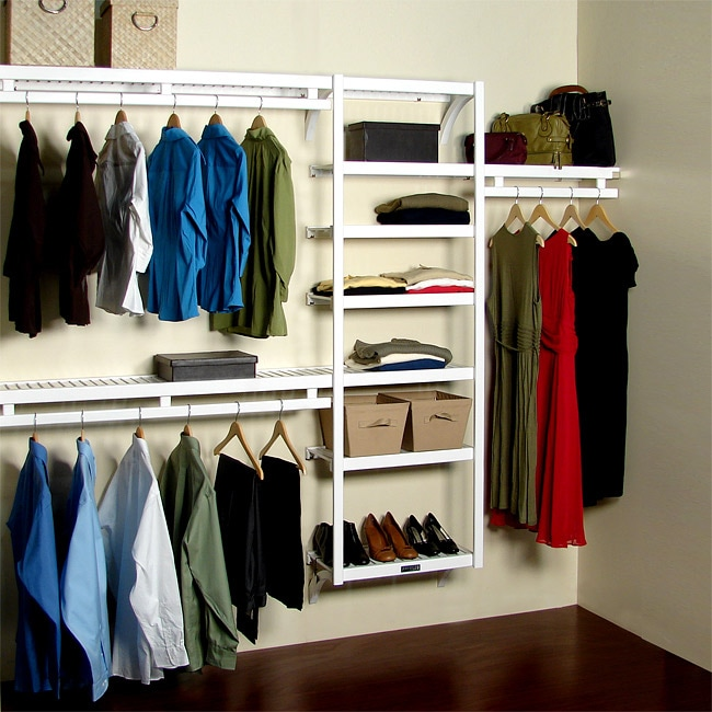 shop john louis home standard white closet system free shipping rh overstock com ClosetMaid Closet Organizing System ClosetMaid Closet Organizing System
