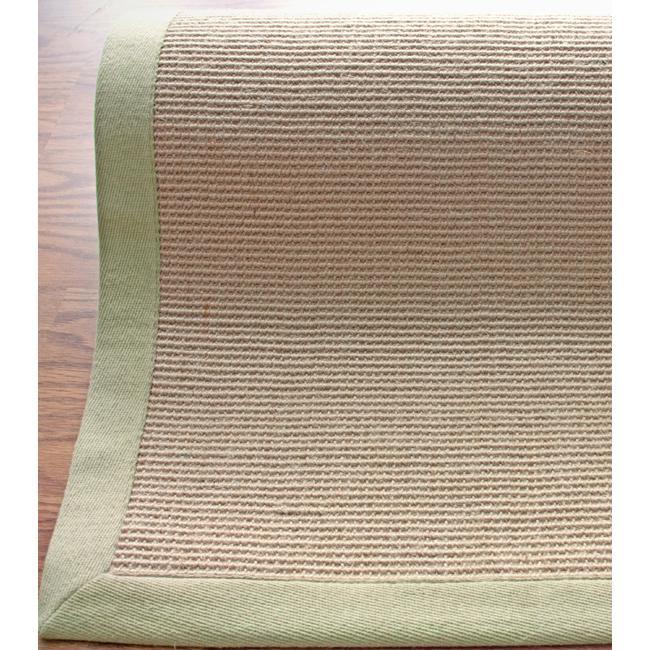 Handmade Eco Natural Fiber Green Cotton Border Jute Rug (5