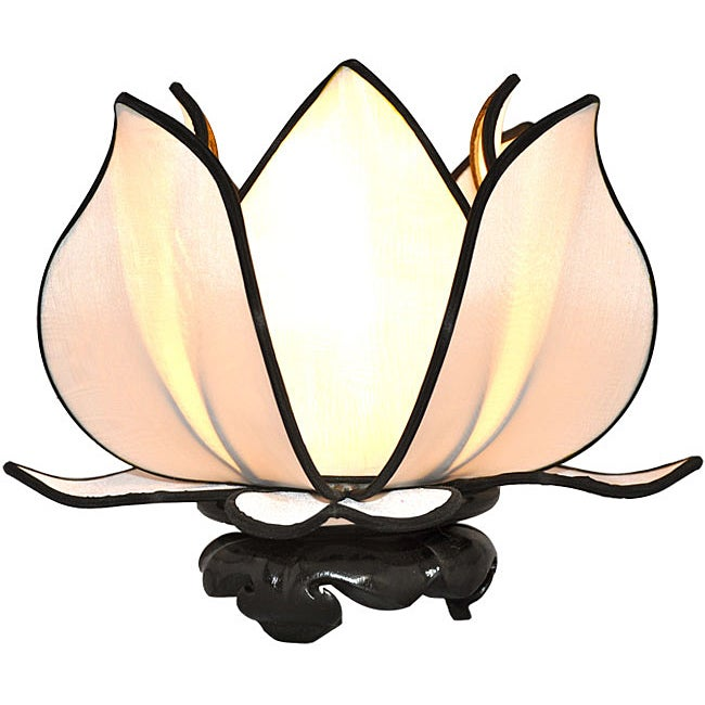 Silk Baby Blooming Lotus White Table Lamp (Vietnam)