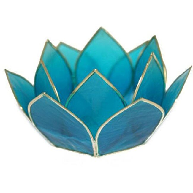 Capiz shell lotus turquoise tea light holder philippines free shipping on orders over 45 - Capiz shell tealight holder ...