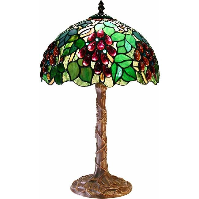 Tiffany-style White Zinc Grape Lamp