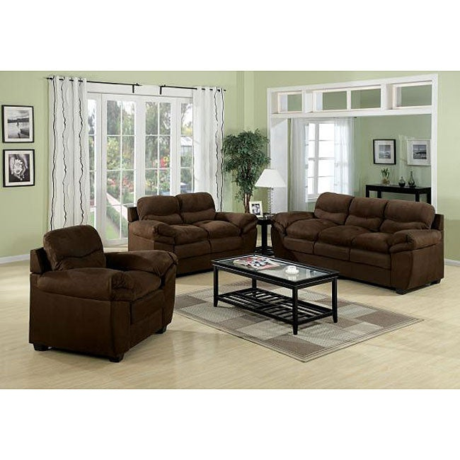 Heath brown microfiber sofa set with sofa loveseat and chair free shipping today overstock Brown microfiber couch and loveseat