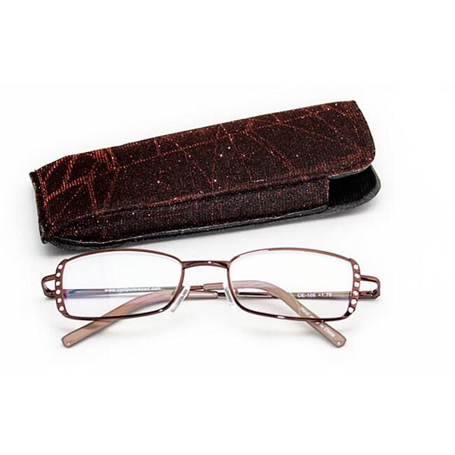 Women's Brown Rhinestone Computer Reading Glasses