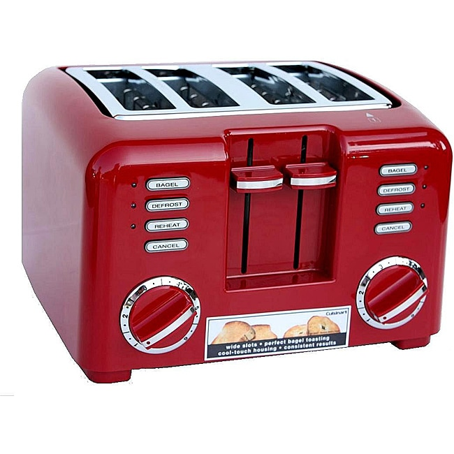 cuisinart rbt57rpc 4 slice deluxe toaster red free shipping today 13027966. Black Bedroom Furniture Sets. Home Design Ideas
