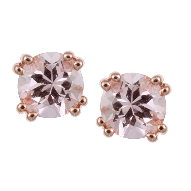 05c9bd2b5 Shop 10k Rose Gold Morganite 5-mm Stud Earrings - Free Shipping Today -  Overstock - 5195546