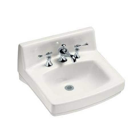 Greenwich White Single Faucet Hole Bathroom Sink