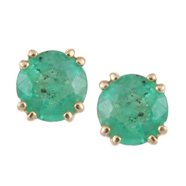 14k Yellow Gold Emerald Stud Earrings