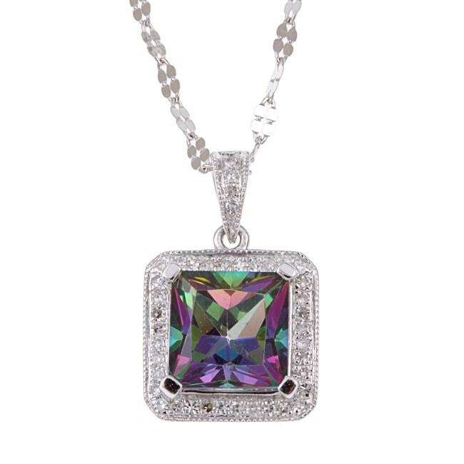 14k White Gold Mystic Topaz and 1/7ct TDW Diamond Necklace