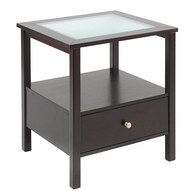Bay Shore Rubberwood Glass-top End Table