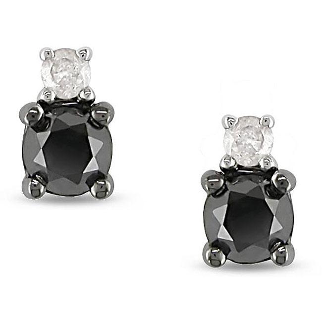 Miadora 10k Gold 1/2ct TDW Black and White Diamond Earrings