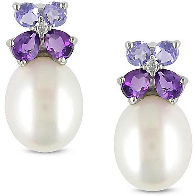 10k Gold FW Pearl, Multi-gemstone and Diamond Earrings (8-8.5 mm)