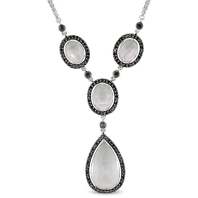 Miadora 14k Gold White Topaz and 3/4ct TDW Black Diamond Necklace (Black)