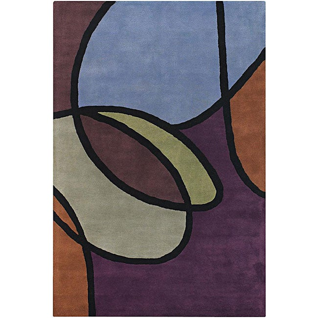 Hand-Tufted Modern Abstract Mandara Wool Rug (7'9 x 10'6)