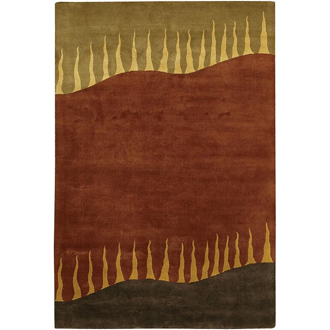 Hand-knotted Mandara Multicolor Wool Rug (5' x 7'6)
