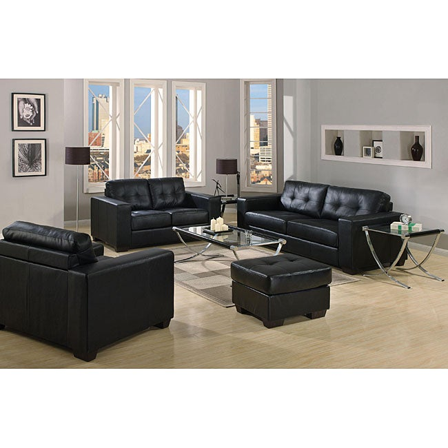 Sleek Contemporary Black Bonded Leather Sofa Free Shipping Today 5205637