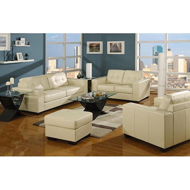 Sleek Contemporary Ivory Bonded Leather Sofa