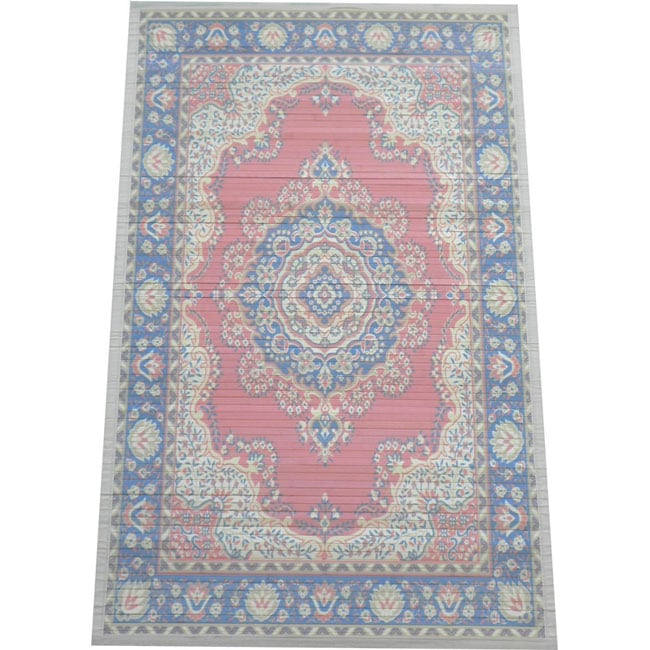 Shop Persian Bamboo Handcrafted Salmon Navy Rug 5 X 8