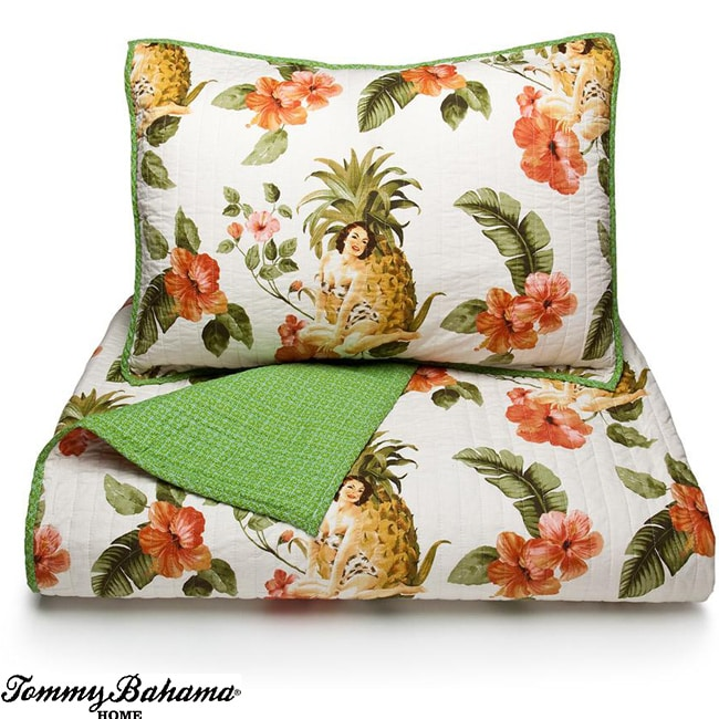 Tommy Bahama Pineapple Girl Full Queen Size Quilt Set