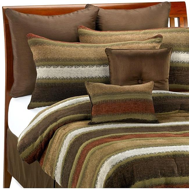 Tacoma 8-piece Red Stripe Comforter Set