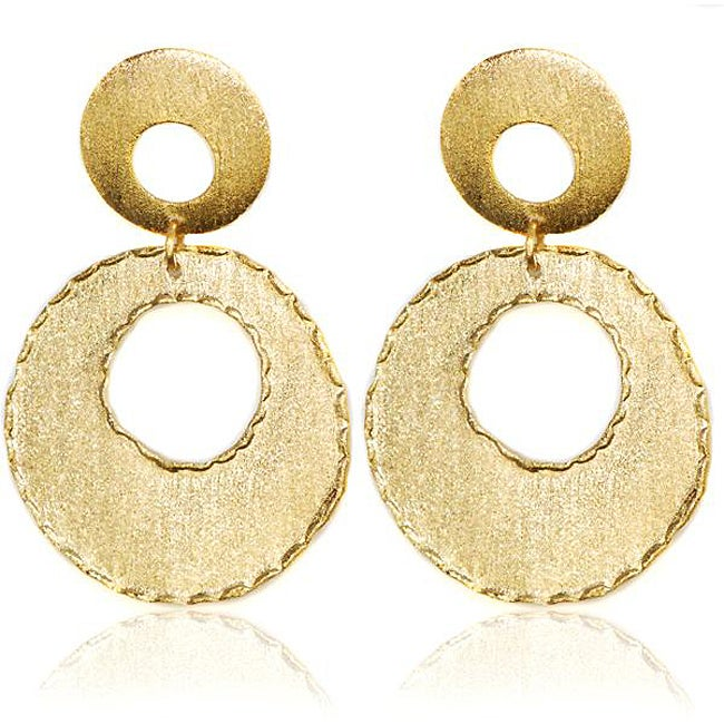 Adee Waiss 18k Yellow Gold Overlay Double Circle Earrings - Thumbnail 0
