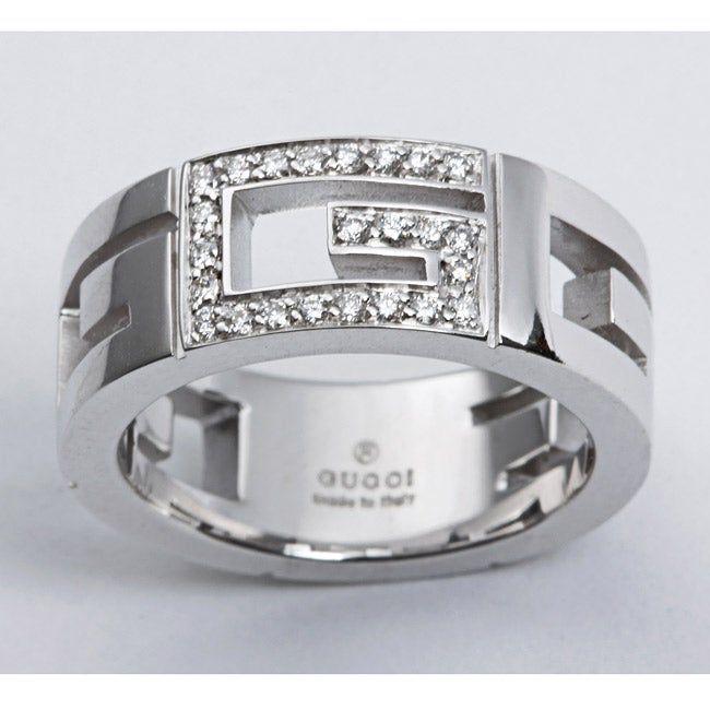 71972d78a5dc Thumbnail Gucci 18k White Gold 1 6ct TDW Diamond Logo Ring (G-H