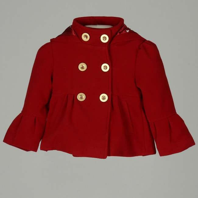 Dollhouse Toddler Girl's Red Double-breasted Peacoat