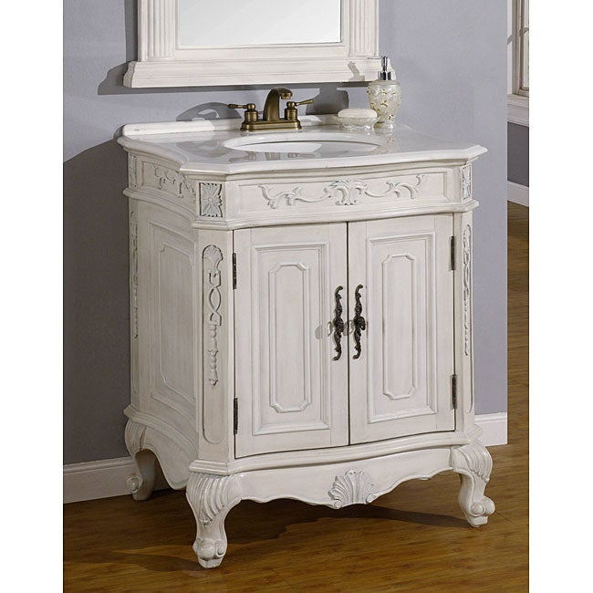 Ica Furniture Bella Antique White Bathroom Vanity Cabinet Free