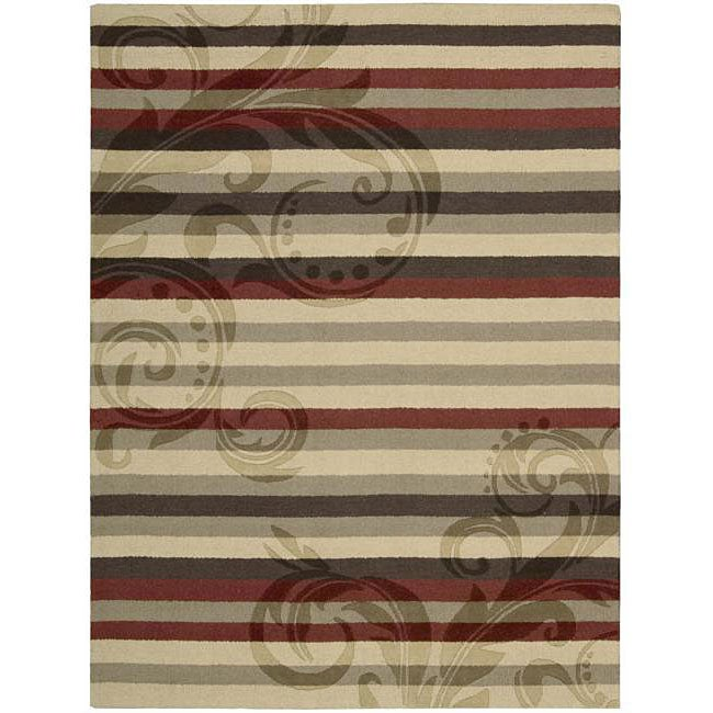 Nourison Hand-tufted Panache Red/Brown Floral Wool Rug (7'3 x 9'3)