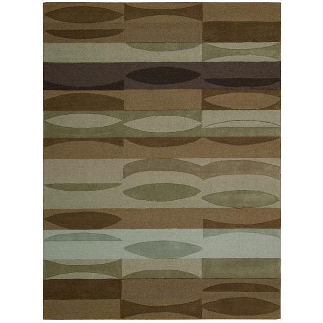 Nourison Hand-tufted Panache Brown Abstract Wool Rug (7'3 x 9'3)