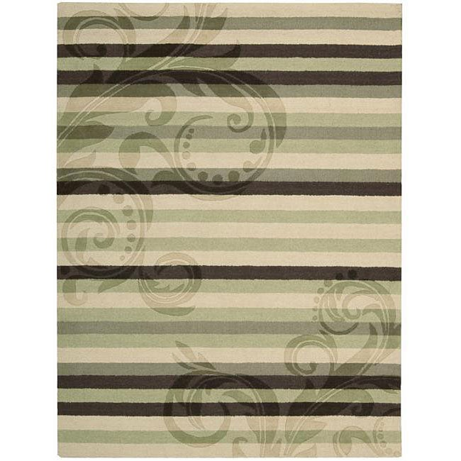 Nourison Hand-tufted Panache Green/Brown Floral Wool Rug (7'3 x 9'3)