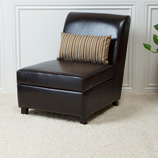 Espresso Brown Bonded Leather Slipper Storage Chair - Free Shipping Today - Overstock.com - 13045144