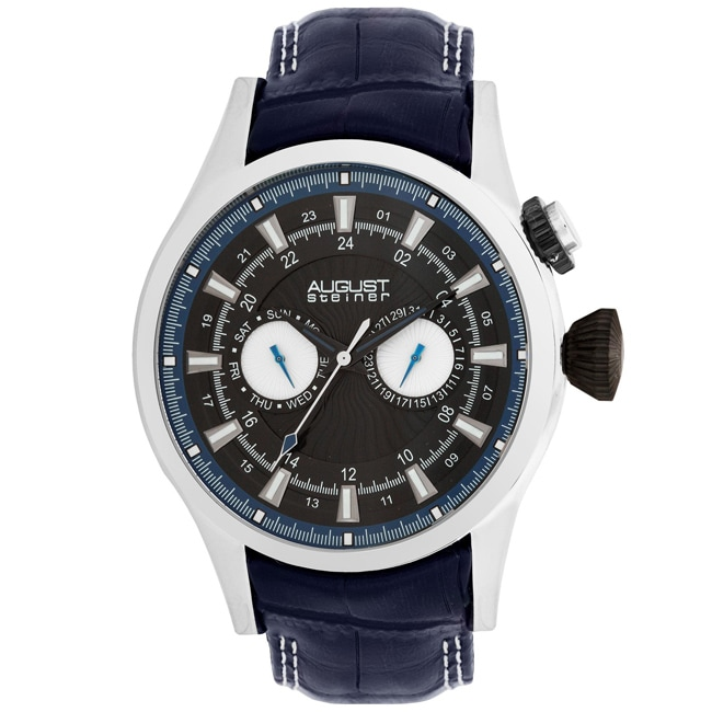 August Steiner Men's Steel Swiss Quartz Day/ Date GMT Watch