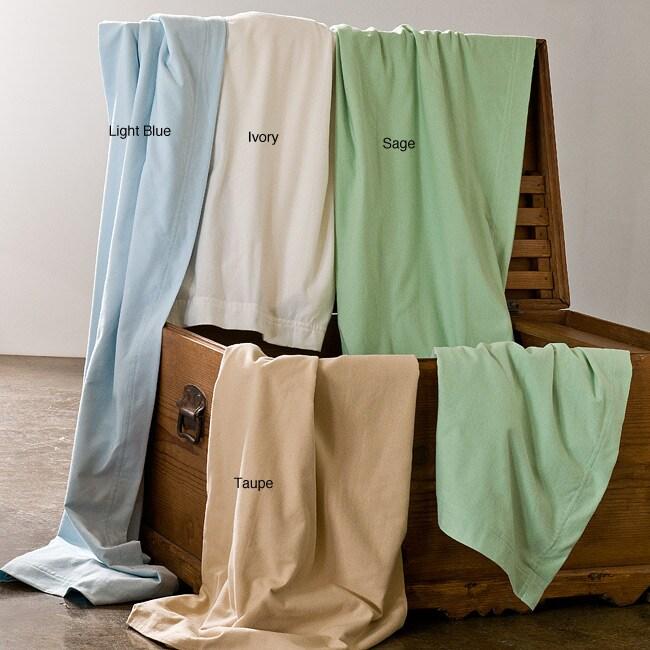 Lightweight Oversize Solid Supima Cotton Flannel Blanket