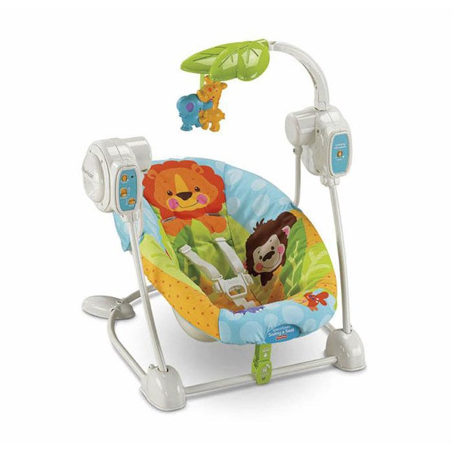 Fisher price precious planet spacesaver swing and seat for Silla fisher price