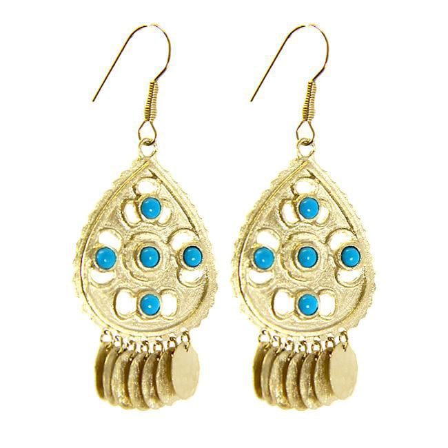 Adee Waiss Gold Overlay Turquoise Magnesite Dangle Earrings - Thumbnail 0
