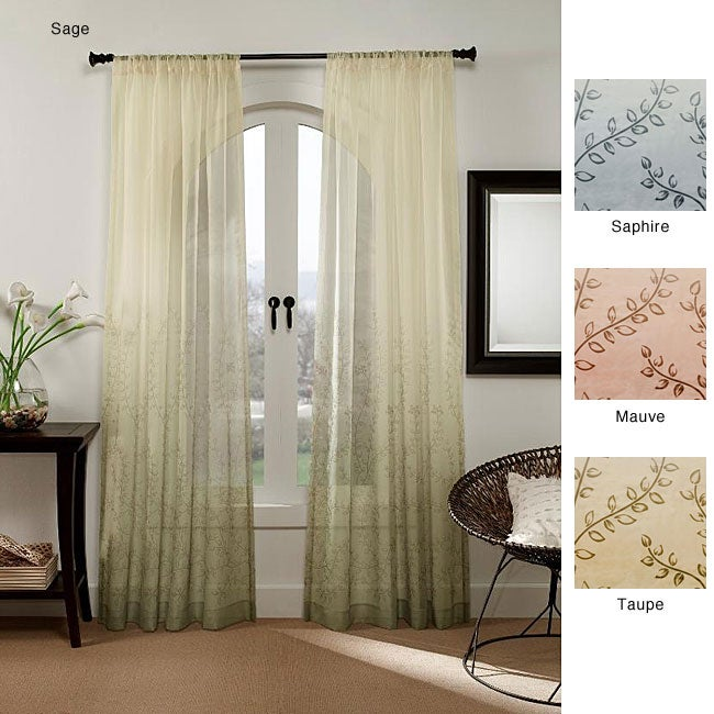 vine ombre 95-inch sheer curtain panel - free shipping on orders