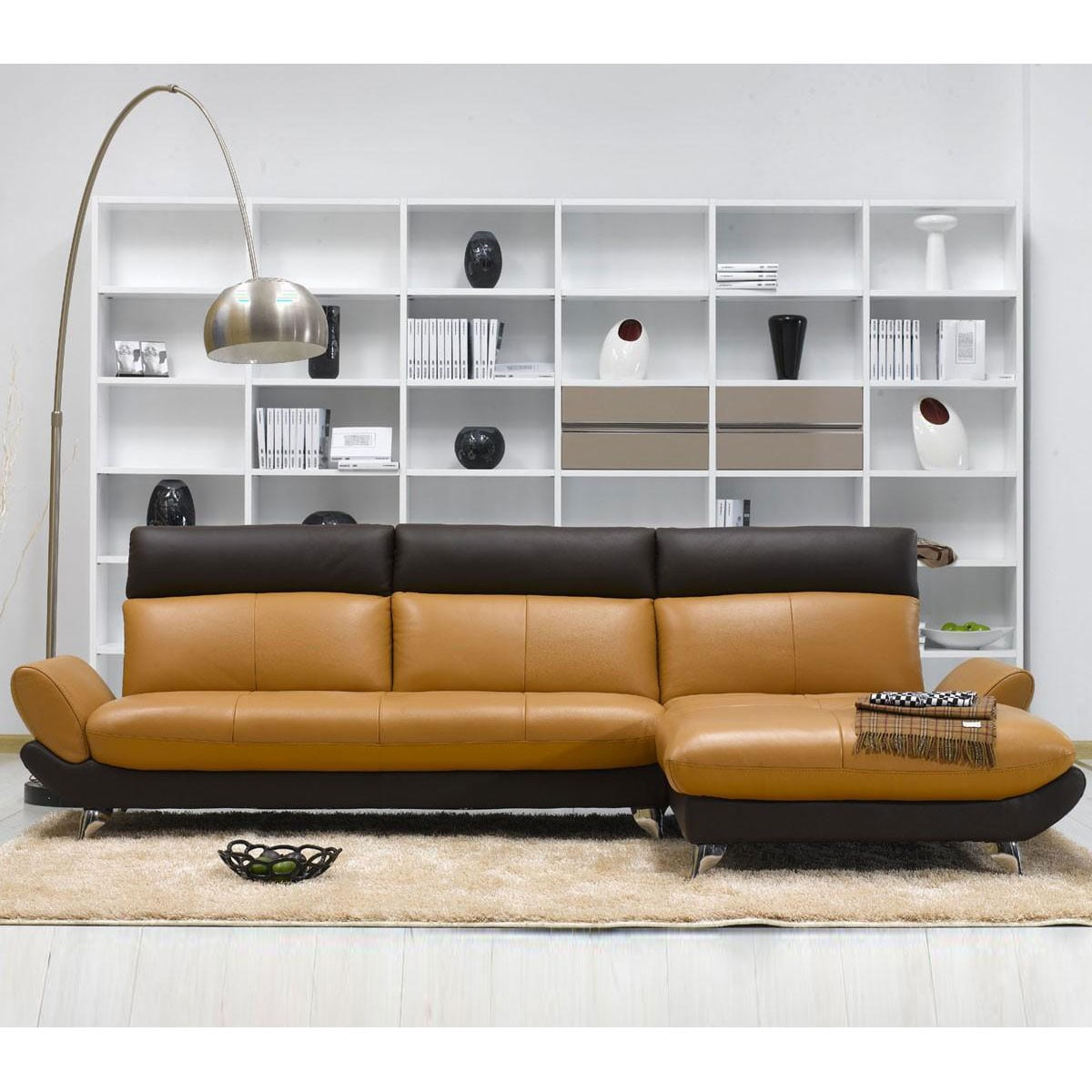 Shop Tosh Furniture Caramel Brown Leather Sectional Sofa