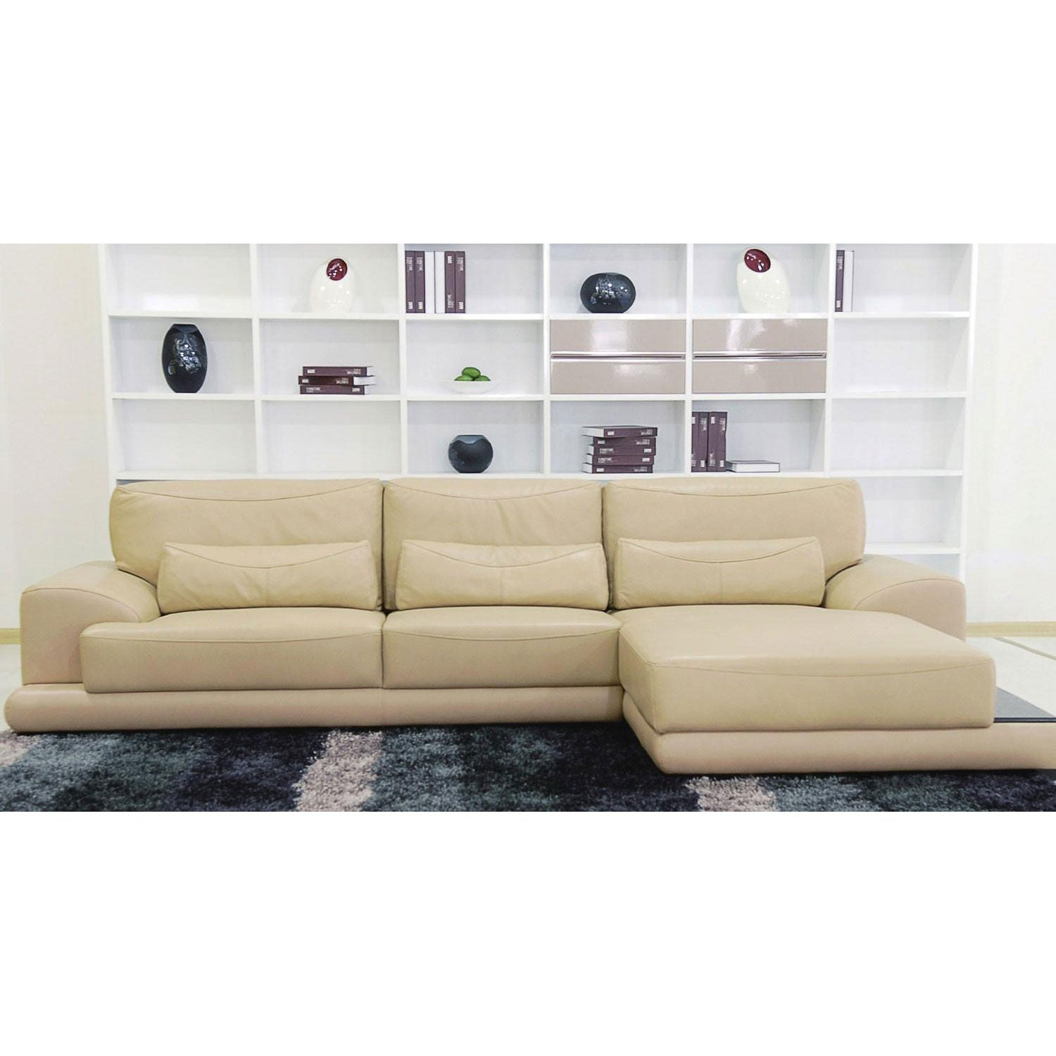 Tosh Furniture Beige Leather Sectional Sofa Free Shipping Today