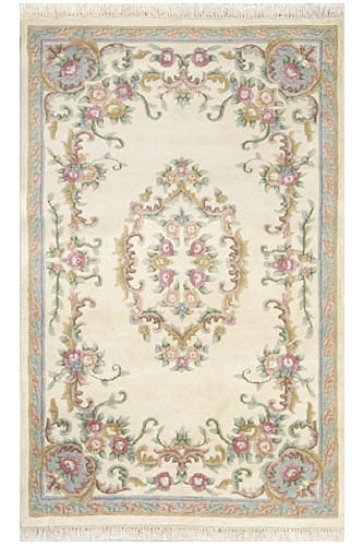 Aubusson Round Rose Wool Rug 3 Ft Round Free Shipping