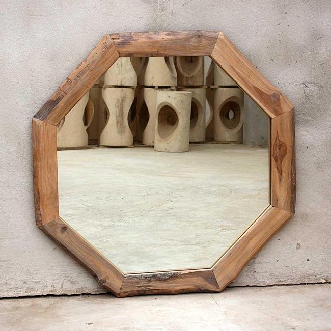 Teak Wood White Oil Octagon Mirror (Thailand)