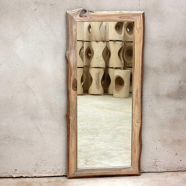 Teak Wood White Oil Rectangular Floor MIrror (Thailand)