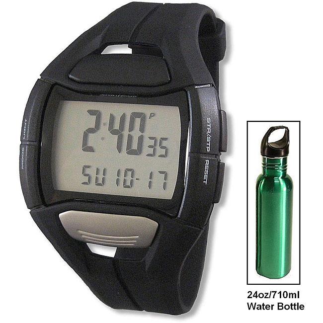 Spulse SMH1108O Unisex Digital Heart Rate Watch and 24oz/710ml Water Bottle