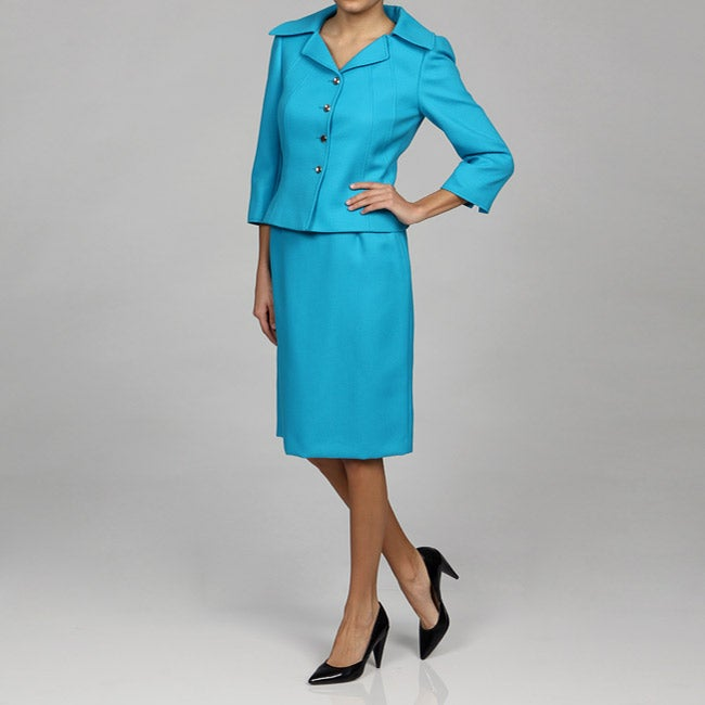 Tahari ASL Women's 4-button Turquoise Skirt Suit