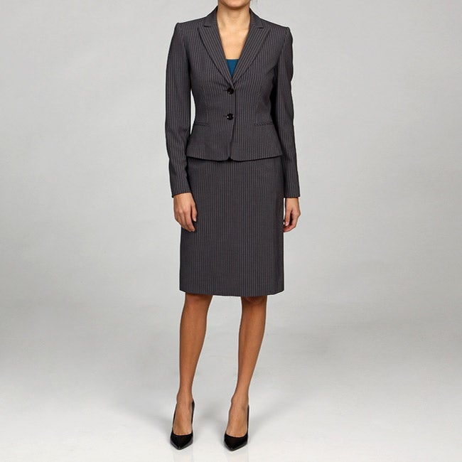 Shop Tahari Asl Women S Grey Pinstripe Skirt Suit Free Shipping