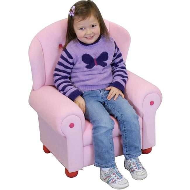 Plush Pastel Pink Kids' Arm Chair