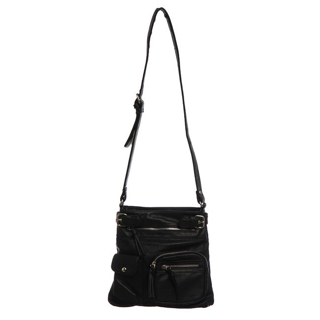 Shop Emperia Double Pocket Zipper Detail Cross-body Bag - Free Shipping On Orders  Over  45 - Overstock.com - 5235440 42d5356d3652b