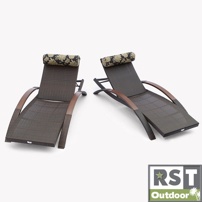RST Delano Arc Espresso Rattan Chaise Loungers (Set of 2)