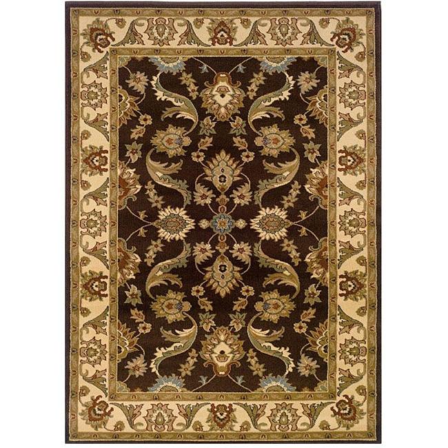 Indoor Brown Floral Rug (9' x 13')