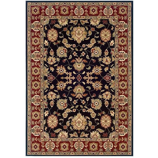Indoor Black Floral Rug - 9' x 13'