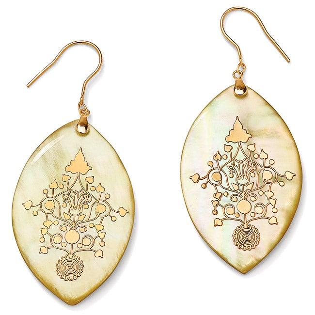 Angelina D'Andrea 14k Yellow Gold Yellow Mother of Pearl Vine Design Earrings